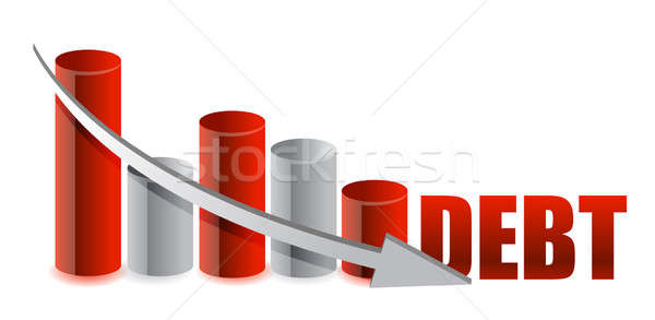 debt falling graph with arrow illustration design Stock photo © alexmillos