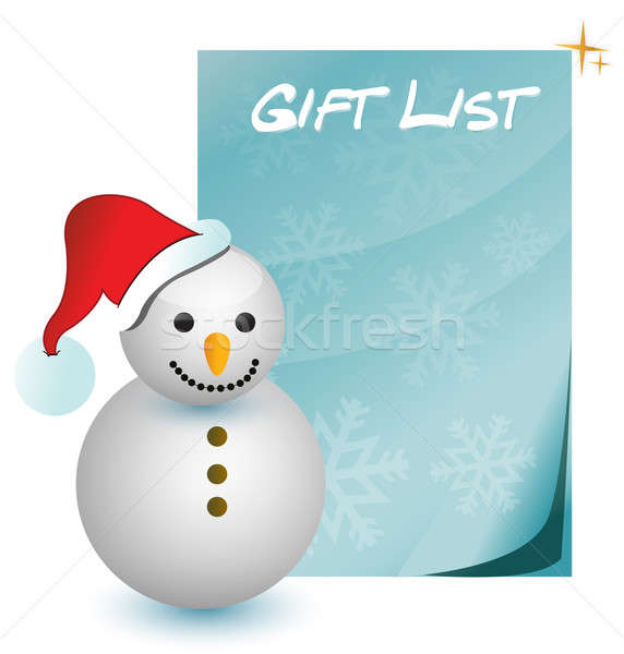 gift list with snowman illustration Stock photo © alexmillos