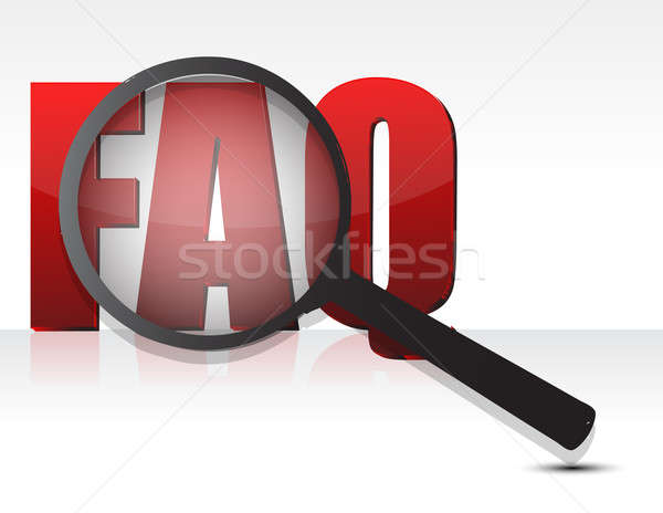 FAQ sign enlarged by a magnifying glass Stock photo © alexmillos