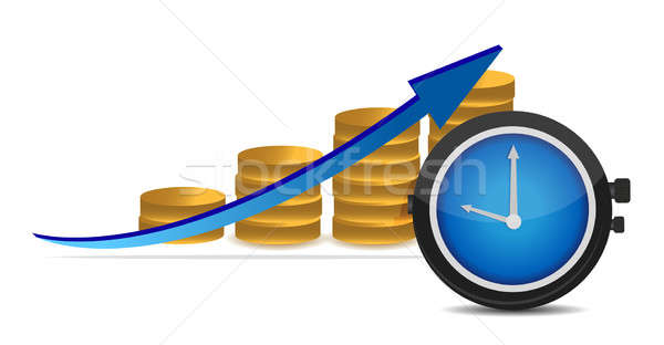 stopwatch with coins and arrow Stock photo © alexmillos