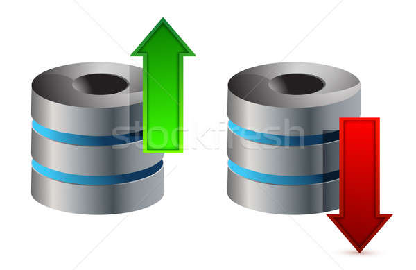 Computer database download frecce illustrazione Foto d'archivio © alexmillos