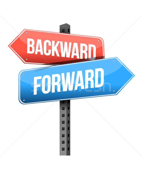 forward versus backward road sign illustration design over a whi Stock photo © alexmillos