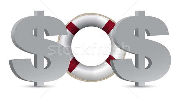 SOS. The concept of Dollar illustration design over white Stock photo © alexmillos