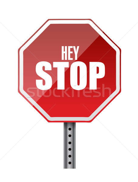 hey stop road sign illustrations design over white Stock photo © alexmillos