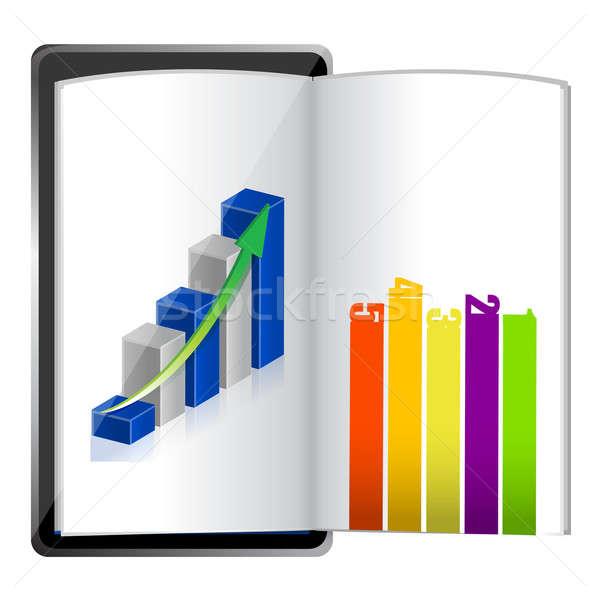Tabletta mutat táblázat grafikon papír illusztráció Stock fotó © alexmillos