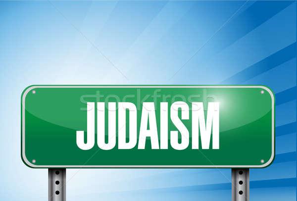 Jodendom religieuze verkeersbord banner illustratie ontwerp Stockfoto © alexmillos