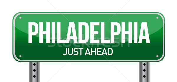 Verkeersbord Philadelphia illustratie ontwerp witte landschap Stockfoto © alexmillos