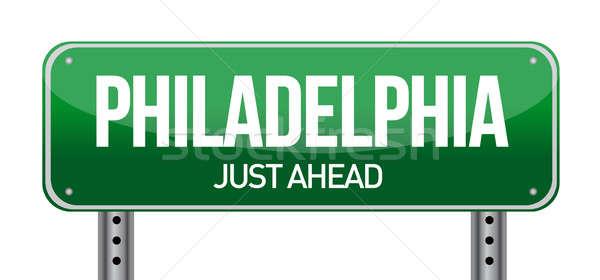 Road sign Philadelphia illustration design over a white backgrou Stock photo © alexmillos