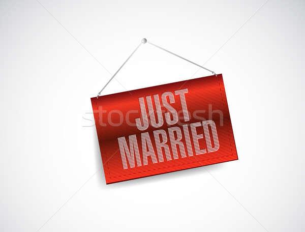 Friss házasok akasztás szalag felirat illusztráció terv Stock fotó © alexmillos