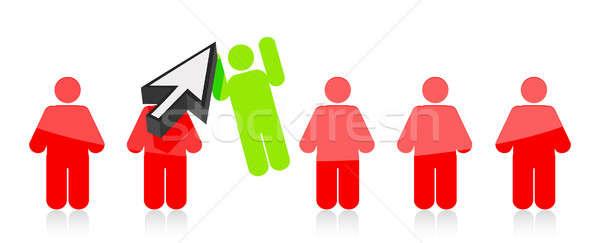 Rij mensen een gekozen cursor illustratie Stockfoto © alexmillos