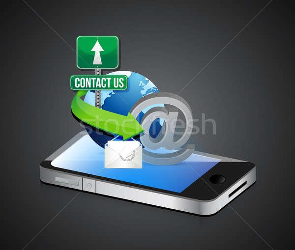contact us smartphone illustration design concept graphic Stock photo © alexmillos