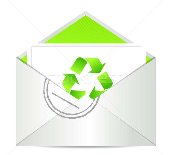Ecology envelope with symbol of recycling illustration design Stock photo © alexmillos