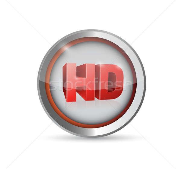Hd gomb szimbólum illusztráció terv Stock fotó © alexmillos