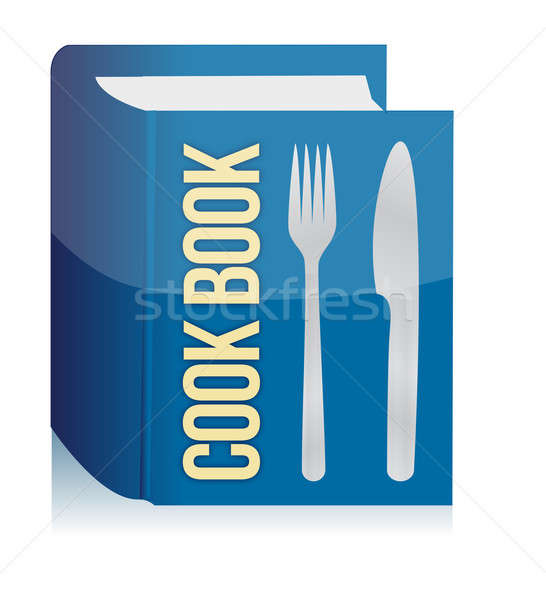 Livro de receitas utensílios de cozinha textura quadro cozinha escrita Foto stock © alexmillos