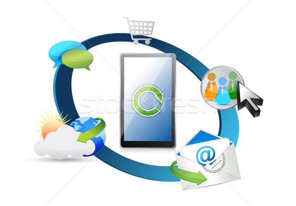ワイヤレス技術 電話 インターネット ニュース メール 携帯 ストックフォト © alexmillos