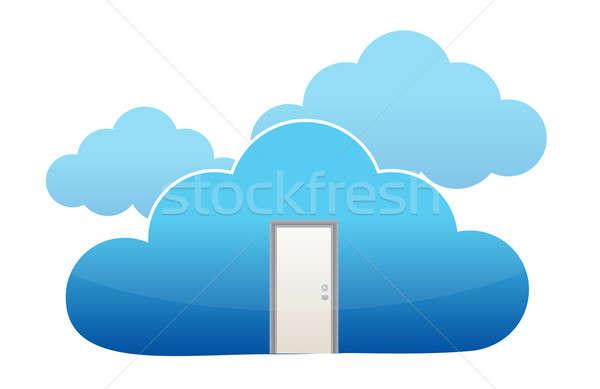 Door entrance to cloud computing  Stock photo © alexmillos