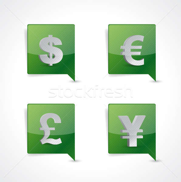 Pin pointer currency symbol signs illustration  Stock photo © alexmillos