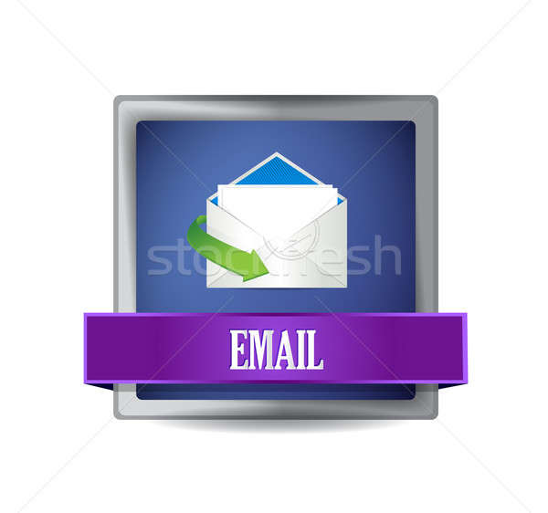 Email glossy blue button illustration  Stock photo © alexmillos