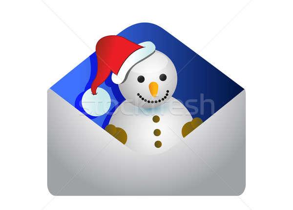 Christmas card with a snowman Stock photo © alexmillos
