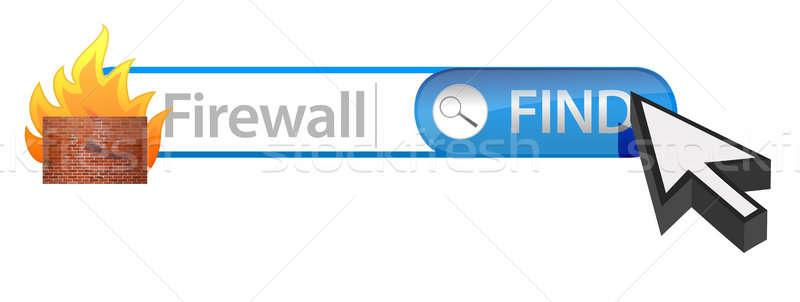 Firewall wyszukiwania laptop technologii bezpieczeństwa sieci Zdjęcia stock © alexmillos