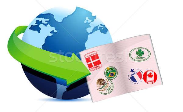 Abierto pasaporte mundo signo Internet fondo Foto stock © alexmillos