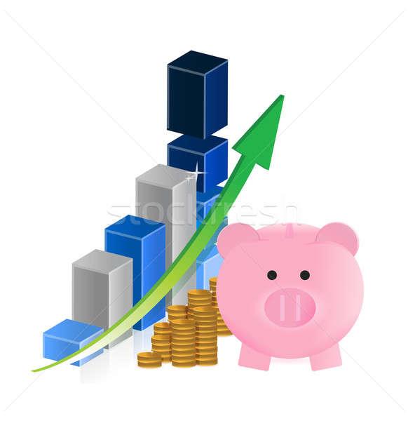 бизнеса экономия деньги счастливым свинья Сток-фото © alexmillos