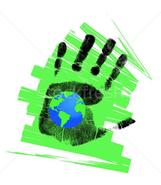 Eco Handprint and globe illustration design  Stock photo © alexmillos