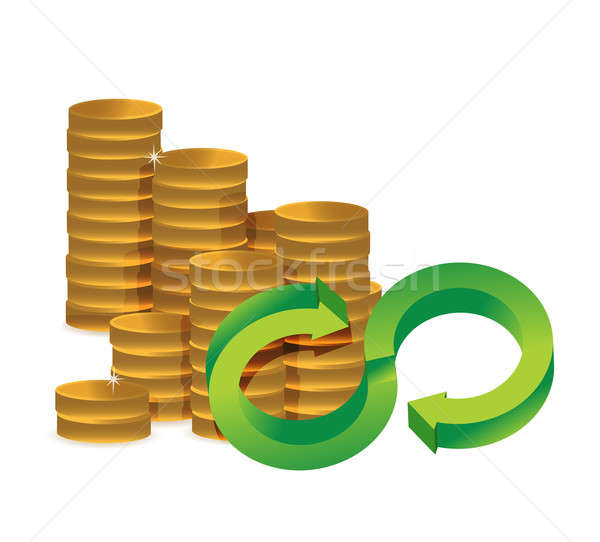 Unlimited amount of money infinity coins concept Stock photo © alexmillos