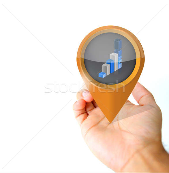 Hand holding a business pin pointer icon  Stock photo © alexmillos