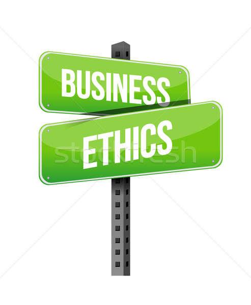 Business ethiek verkeersbord illustratie ontwerp witte Stockfoto © alexmillos