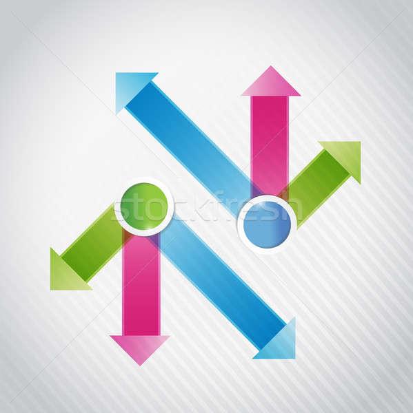 Mavi pembe yeşil ok infographics örnek Stok fotoğraf © alexmillos