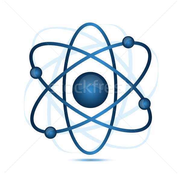 blue atom illustration isolated over a white background Stock photo © alexmillos