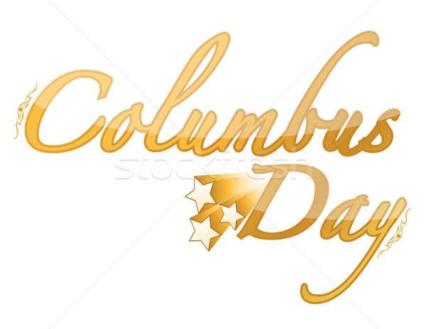 Golden Columbus Day sign  Stock photo © alexmillos