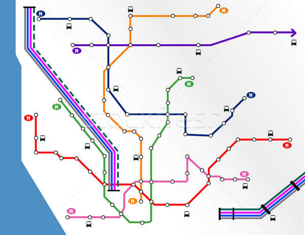 Metropolitana mappa città rete viaggio urbana Foto d'archivio © alexmillos