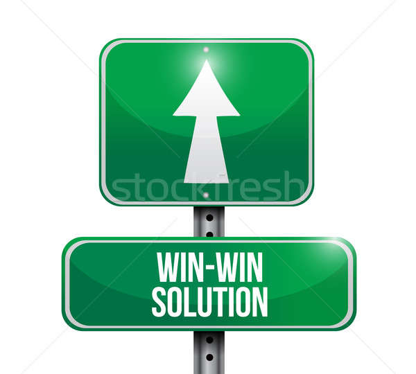 win win solution road sign illustration design over white Stock photo © alexmillos
