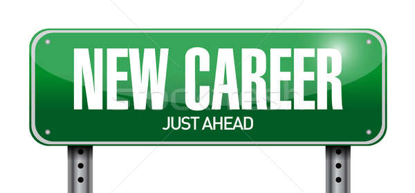 new career road sign illustration design over a white background Stock photo © alexmillos