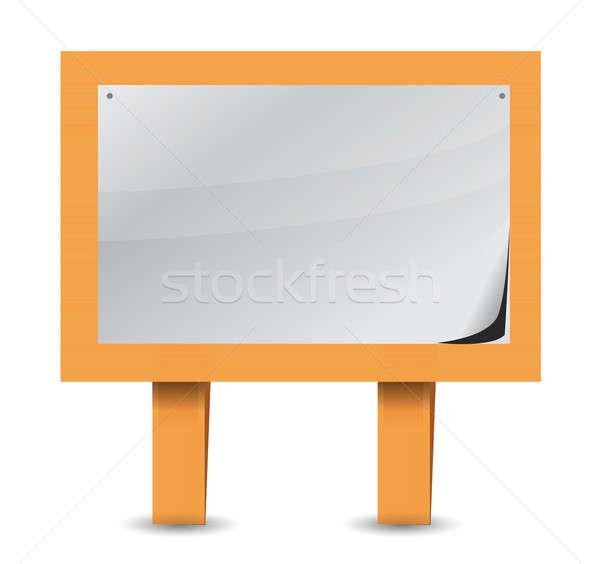 Stock photo: blank wood sign illustration design over white