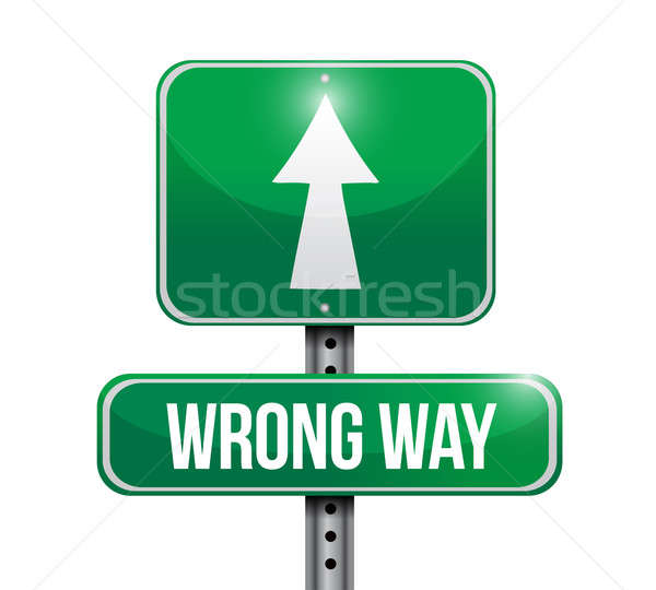 wrong way road sign illustration design over white Stock photo © alexmillos