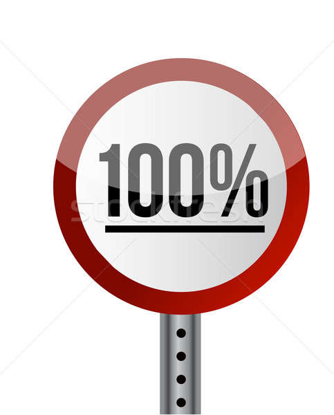 Road sign White Red with word 100 Percent. illustration design Stock photo © alexmillos