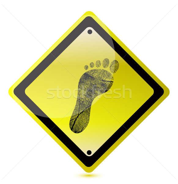 Citromsárga lábnyom felirat illusztráció terv fehér Stock fotó © alexmillos
