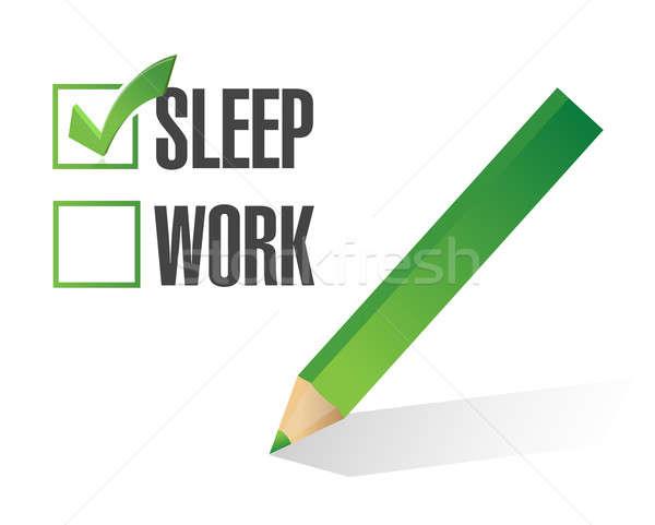 Stock photo: work sleep check mark illustration design over white
