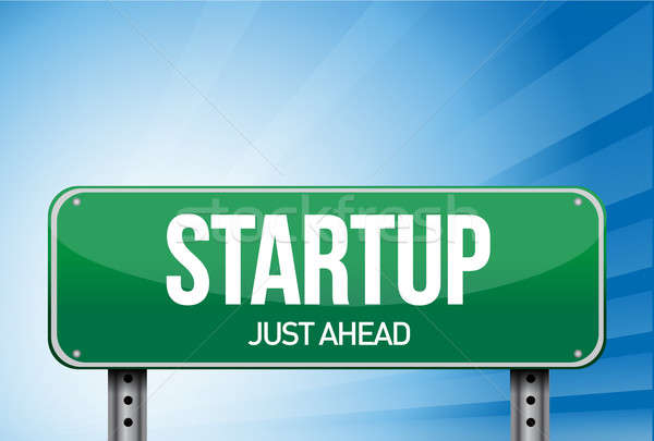 startup road sign illustration design over a white background Stock photo © alexmillos
