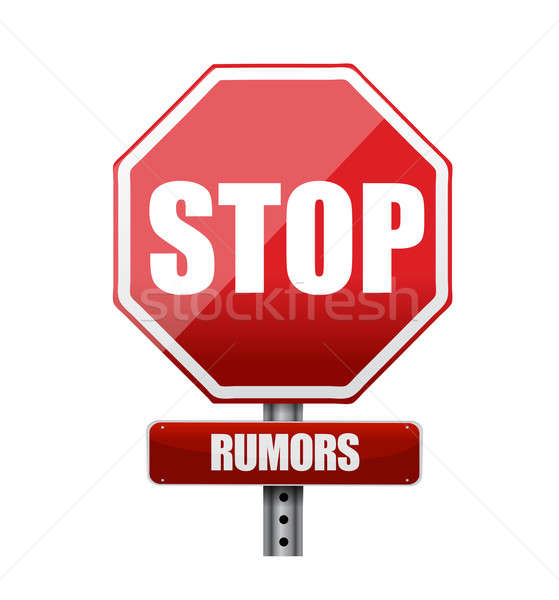 stop rumors road sign illustration design over white Stock photo © alexmillos