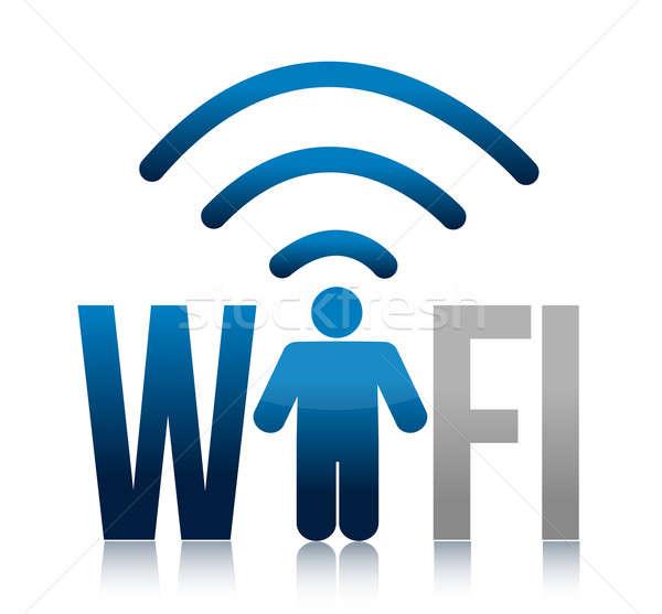 Icona wifi illustrazione design bianco internet Foto d'archivio © alexmillos