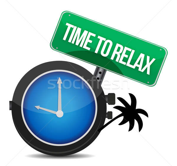 time to relax concept illustration design over white Stock photo © alexmillos