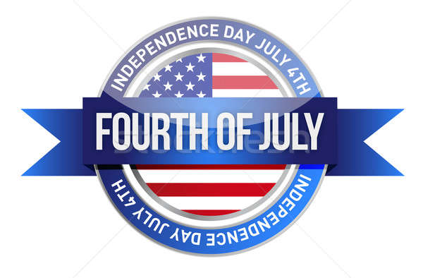 forth of july. us seal and banner illustration design Stock photo © alexmillos