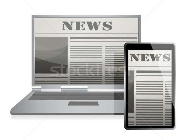 Stok fotoğraf: Haber · iş · gazete · ekran · örnek · dizayn