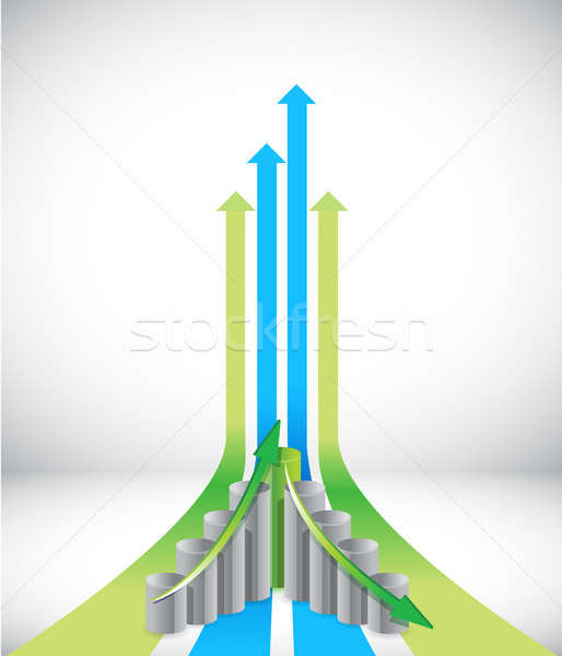 Stock photo: Green and blue leader arrows and graph illustration