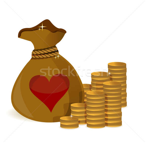 Money coins bag with heart illustration design over a white back Stock photo © alexmillos