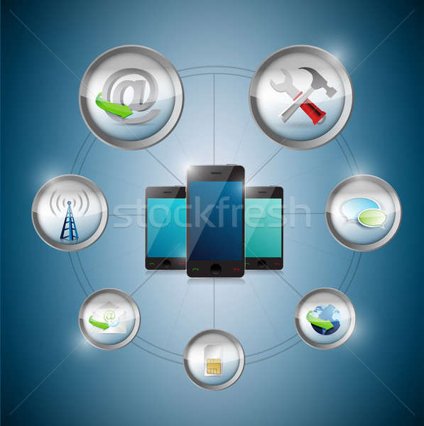 smart phone settings option cycle, illustration design graphic Stock photo © alexmillos